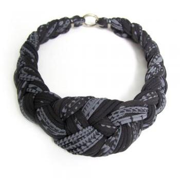 Tribal Collar Necklace Braided Jewelry Knotted Choker Fabric African Braid Knotted Black White Jewellery Spring Fashion Jewelry