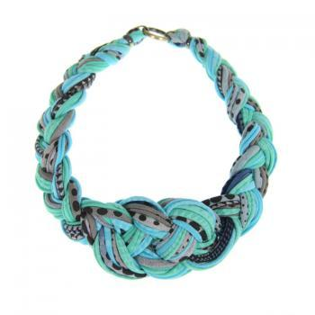 Collar Necklace Tribal Braided Knotted Choker Mint Jewelry Teal Blue African Neckpiece Braid Jewellery Spring Fashion Jewelry