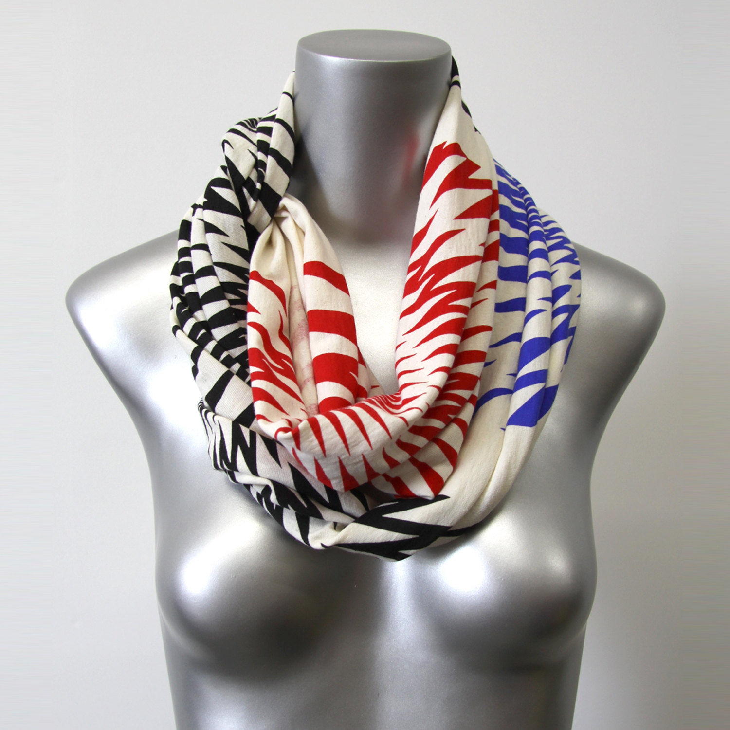 Unique Scarf, White Black Red Blue Infinity Scarf, Womens Mens ...